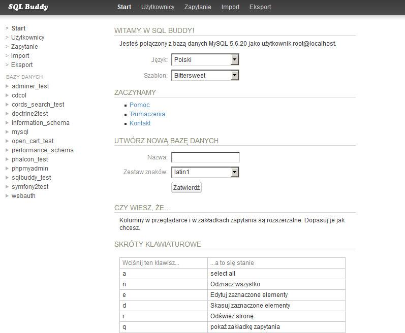 Wybór i ustawienia bazy danych w systemie SQL Buddy
