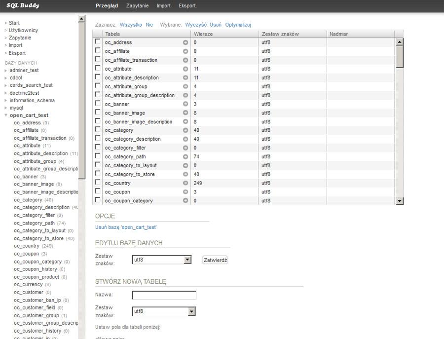 Wybór tabeli bazy danych w systemie SQL Buddy