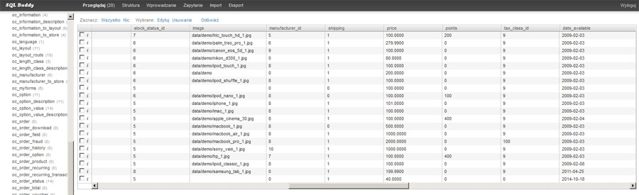 Widok tabeli w systemie SQL Buddy