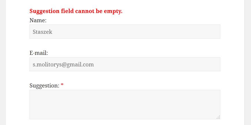 Błąd formularza wtyczki suggestion box