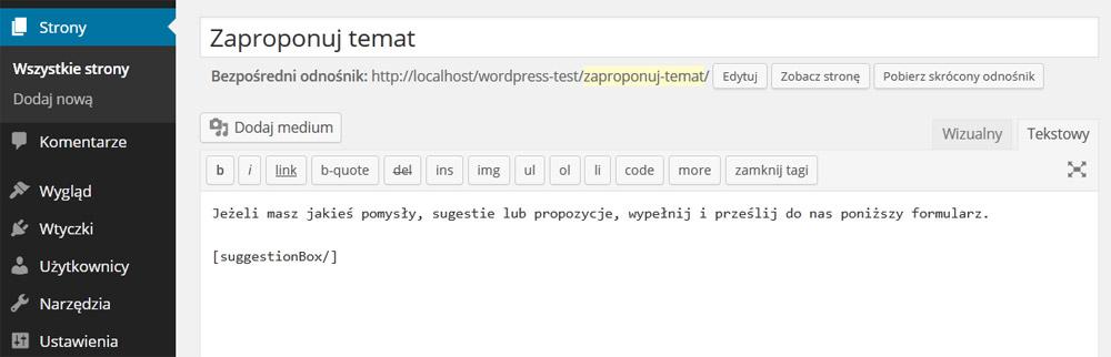 Dodanie shortcode wtyczki suggestion box na stronie
